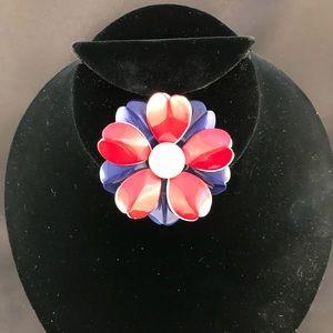 Vintage red white blue flower brooch